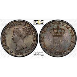 ITALIAN STATES: PARMA: Maria Luigia, 1815-1847, AR 5 soldi, 1815. PCGS MS65