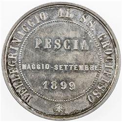 ITALY: AR medal (24.09g), 1899, Crucifixion Pilgrimage in Pescia, EF-AU