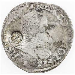 NETHERLANDS: HOLLAND: Philip II, 1555-1598, AR 1/10 filipsdaalder (6.10g), ND (1573-1581). AU