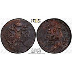 RUSSIAN EMPIRE: Elizabeth, 1741-1761, AE denga, 1741, PCGS MS62BR