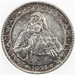 SAN MARINO: AR 20 lire, 1931-R, KM-11, attractive light tone, About Unc.