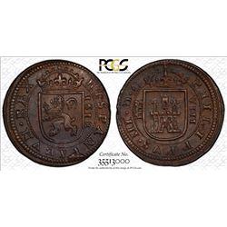 SPAIN: Felipe III, 1598-1621, AE 8 maravedis, Segovia, 1618. PCGS MS62
