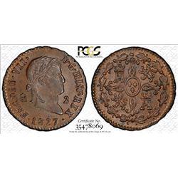 SPAIN: Fernando VII, 2nd reign, 1813-1833, AE 2 maravedis, Segovia, 1827. PCGS MS64