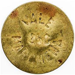SPAIN:Marchena Brass 25 centimos, ND (1936), KM-1.1, civil war period, VF.