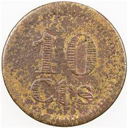 SPAIN:Puebla de Cazalla Brass 10 centimos, ND (1936), KM-1, civil war period, VG
