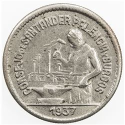 SPAIN:Santander, Palencia & Burgos 50 centimos, 1937, KM-1.2, civil war period, AU