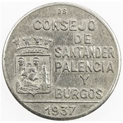 SPAIN:Santander, Palencia & Burgos peseta, 1937, KM-2, civil war period, EF to AU