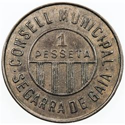 SPAIN:Segarra de Gaia peseta, ND (1937), KM-1a, civil war period, uniface, EF.