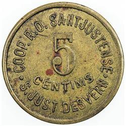SPAIN:Sant Just Desvern Brass 5 centimos, ND (1936-7), A. López 833, civil war period, EF.