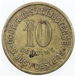 SPAIN:Sant Just Desvern Brass 10 centimos, ND (1936-7), A. López 834, civil war period, VF.