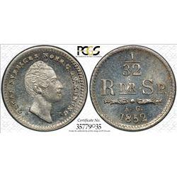 SWEDEN: Oscar I, 1844-1859, AR 1/32 riksdaler, 1852, KM-681, PCGS graded MS65.