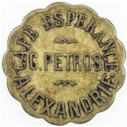 EGYPT: token (2.98g), ND [ca. 1920], 24mm brass token for Cafe Esperance, F-VF