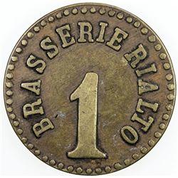 EGYPT: AE token (6.53g), ND [ca. 1920], 27mm bronze token for Brasserie Rialto, Fine