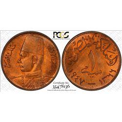 EGYPT: Farouk, 1936-1952, AE millieme, 1947/1366. PCGS MS65