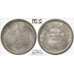 BOLIVIA: Republic, AR 50 centavos, 1899. PCGS MS64