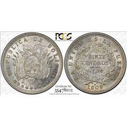 BOLIVIA: Republic, AR 20 centavos, 1909-H, KM-176, PCGS graded MS62.