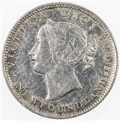 CANADA: NEWFOUNDLAND: Victoria, 1837-1901, AR 5 cents, 1865. VF-EF