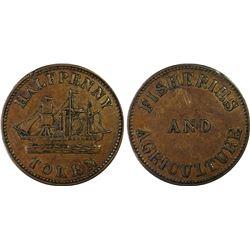 CANADA: PRINCE EDWARD ISLAND: AE 1/2 penny token, ND (1858). PCGS EF45