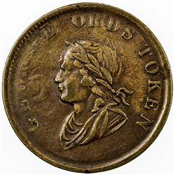 CANADA: AE halfpenny token (7.78g), 1834, GEORGE ORDS TOKEN, VF