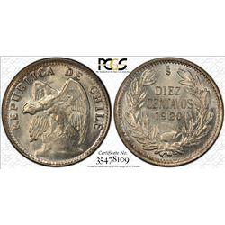 CHILE: Republic, 10 centavos, 1920-So, KM-156.2a, PCGS graded MS66.