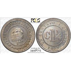 COLOMBIA: Republic, 1 1/4 centavos, 1874. PCGS MS66