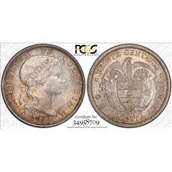 COLOMBIA: Republic, AR 20 centavos, Bogota, 1897. PCGS MS64