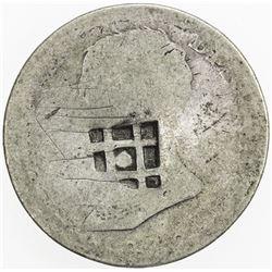 CUBA: AR 2 reales (5.19g), ND [1841], lattice countermark, Fine