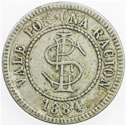 CUBA: ration token (2.59g), 1884. VF