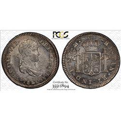 GUATEMALA: Fernando VII, 1808-1821, AR 1/2 real, 1820-NG. PCGS MS64