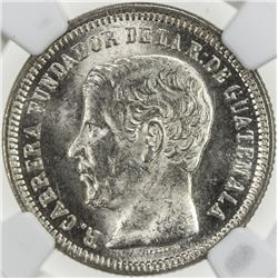 GUATEMALA: Republic, AR 2 reales, 1867. NGC MS63