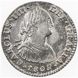 MEXICO: Carlos IV, 1788-1808, AR real, 1808/7-Mo. AU