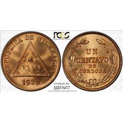 NICARAGUA: Republic, AE centavo, 1938. PCGS MS66