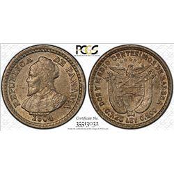 PANAMA: Republic, AR 2 1/2 centesimos, 1904. PCGS MS63