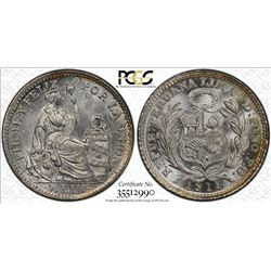 PERU: Republic, AR ½ dinero, 1913, KM-206.2, assayer FG, PCGS graded MS65.