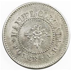PUERTO RICO: 5 [centavos] token (2.17g), ND [ca. 1890?]. AU