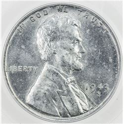 UNITED STATES: 1 cent, 1943-S, PCGS graded MS67, Lincoln type, zinc-coated steel, S.