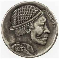 """UNITED STATES: 5 cents, 1926, EF, modern """"Hobo Nickel"""" carved into Buffalo"""
