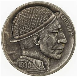 """UNITED STATES: 5 cents, 1930, EF, modern """"Hobo Nickel"""" carved into Buffalo"""