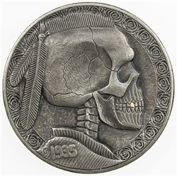 """UNITED STATES: 5 cents, 1935-D, EF, modern """"Hobo Nickel"""" carved into Buffalo"""