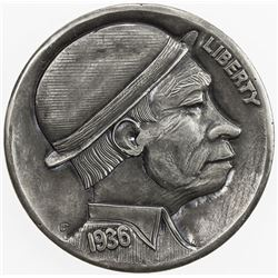 """UNITED STATES: 5 cents, 1936, EF, modern """"Hobo Nickel"""" carved into Buffalo"""