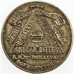 UNITED STATES: AE shellcard mirror (8.54g), ND (ca. 1870), Dr. Walker's Vinegar Bitters, VF