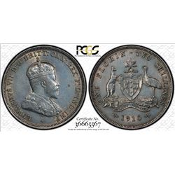 AUSTRALIA: Edward VII, 1901-1910, AR florin, 1910. PCGS AU
