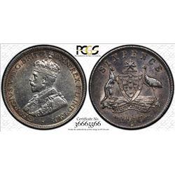 AUSTRALIA: George V, 1910-1936, AR sixpence, 1917-M. PCGS AU55