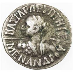 INDO-GREEK: Menander I, ca. 165-130 BC, AR drachm, Mitchner-1790/91, f-vf