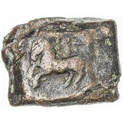 ANCIENT INDIA: PUSHKALAVATI: Anonymous, ca. 185-160 BC, AE 1 1/2 karshapana. VF