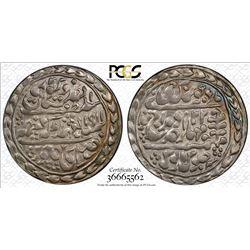 JAIPUR: Madho Singh II, 1880-1922, AR nazarana rupee, Sawai Jaipur, 1911 year 32. PCGS MS63