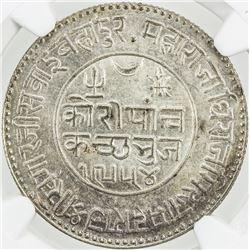 KUTCH: Khengarji III, 1875-1942, AR 5 kori, Bhuj, 1898/VS1954. NGC MS63