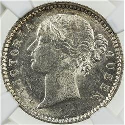 BRITISH INDIA: Victoria, Queen, 1837-1876, AR 1/4 rupee, 1840(b&c). NGC MS63