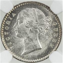 BRITISH INDIA: Victoria, Queen, 1837-1876, AR 2 annas, 1841(c). NGC MS64