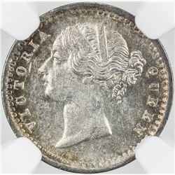 BRITISH INDIA: Victoria, Queen, 1837-1876, AR 2 annas, 1841(b). NGC MS61